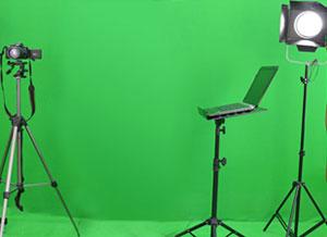 Studio de réalisation avec fond vert