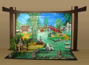 Scène de décors représentant un jardin zen