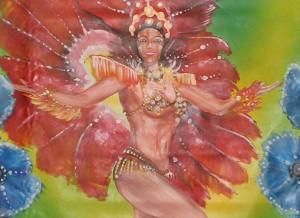 détails d'une fresque représentant des danseuses brésiliennes