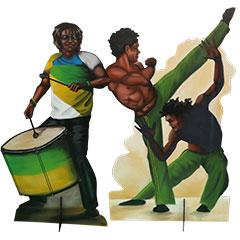 Silhouettes de décors personnages de capoeira