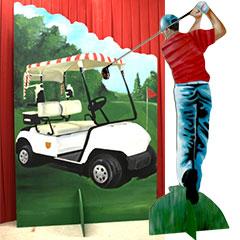 éléments de décors peint sur le thème du golf
