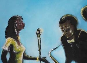 détails d'une fresque peinte de musicien
