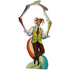 silhouette de décors représentant un jongleur de cirque