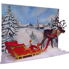 fresque avec renne pour un arbre de noel d'entreprise