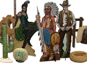 éléments de décors artisanal sur le thème du far west