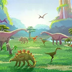 visuel de l'univers dinosaure de l'animation de dessin en projection interactive