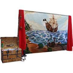 fresque peinte représentant un bateau pirate