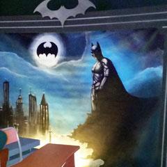 fresque peinte sur le thème de batman