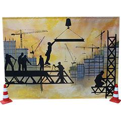 Fresque peinte représentant une scène de chantier