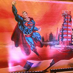 fresque peinte représentant Superman