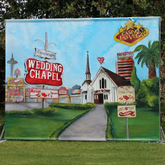 Fresque de décors représentant une chapelle de Las Vegas