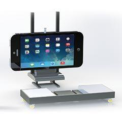 Iphone géant sur pied en orientation paysage
