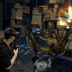 Jeu de lancer à l'aide d'une catapulte en réalité virtuelle