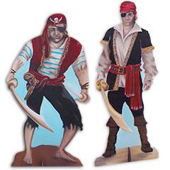 silhouettes peintes de pirates