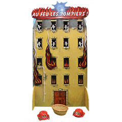 Décors d'immeuble utilisé lors d'un jeu pour enfant inspiré de l'univers des pompiers