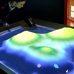 Bac à sable interactif projectant un paysage d'océan