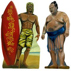 silhouette d'un surfeur et d'un sumo