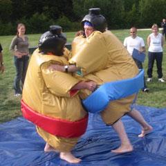 lutteurs s'agrippant à leurs costumes de sumo