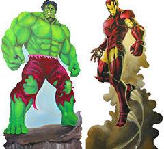 Hulk et Ironman géant pour décors de super-héros