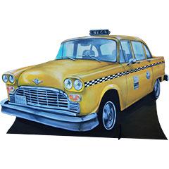silhouette de taxi new-yorkais en bois peint