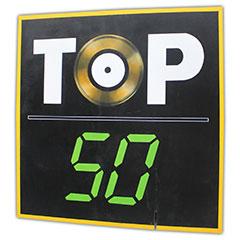 panneau peint représentant le logo du top50